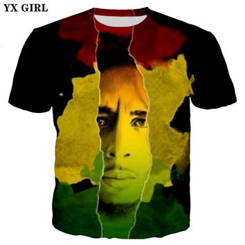 YX GIRL Drop shipping Reggae Bob Marley New Fashion 3d t-shirt Hip hop style t shirts summer Men/Women Cool casual Tee shirts