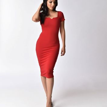 Unique Vintage Red Short Sleeve Harris Knit Wiggle Dress