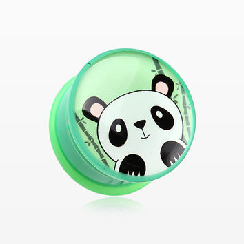 A Pair of Panda the China Single Flared Ear Gauge Plug