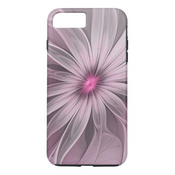 Pink Flower Waiting For A Bee Abstract Fractal Art iPhone 7 Plus Case