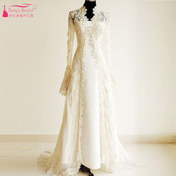 Long Lace Wedding Jacket Long sleeve elegant Spring Winter wedding Coat  lace bolero mariage bridal jacket  Z522