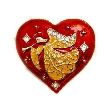 Angel Heart Red Enamel Crystal Brooch Pin