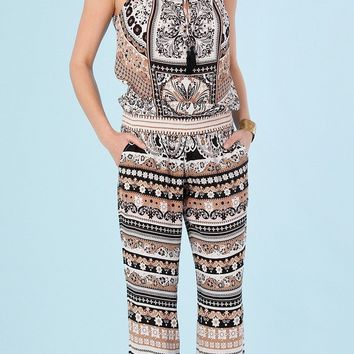 Sleeveless Printed Viscose Crepe Jumpsuit