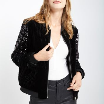 Black Amira Velvet Sequin Jacket