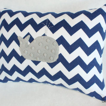 Navy & Gray Whale Nursery Pillow Cover - Navy Chevron Flannel, Gray Minky -12x16 Pillow Cover for Baby - Nautical, Unisex - READY TO SHIP
