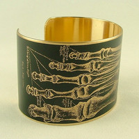 Brass Cuff Bracelet with Anatomical Human Foot Skeleton in Black