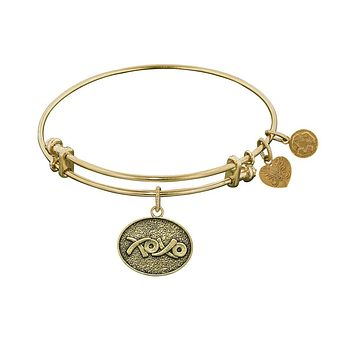 Stipple Finish Brass Hugs And Kisses  Angelica Bangle Bracelet, 7.25""