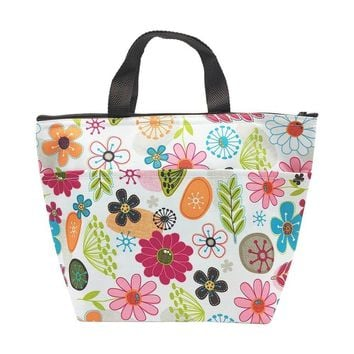 Lunch Bag Reusable Tote Bag, Colorful Flowers