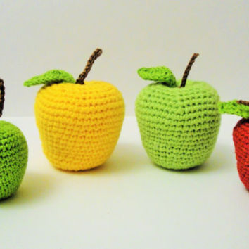 Crochet Apple Play Food Play Kitchen food Crochet Fruits  Montessori Kids Toy Crochet Pretend food Educational toy Kitchen decor Stuffed