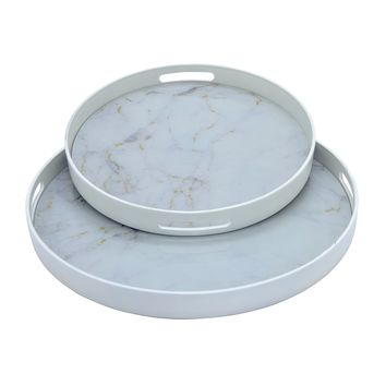 Three Hands Round Tray -- White Marble Finish