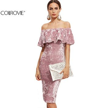 COLROVIE Women Pink Off Shoulder Ruffle Velvet Dresses Party Night Club Dress Winter Dresses Bodycon Sheath Elegant Dress