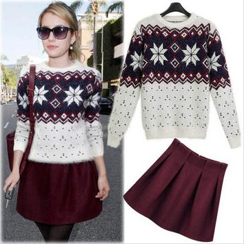 Sea Winter Women's Fashion Round-neck Sweater Mini Dress Two Piece Set [22462988314]