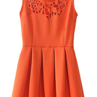 ROMWE | Cut-out Carving Orange Pleated Dress, The Latest Street Fashion