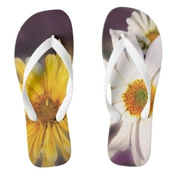 Beautiful wild flower's on ladlies flip flops