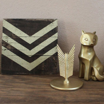 Gold Glitter Chevron Stained Wood Sign