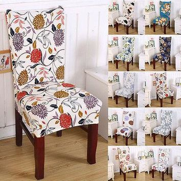 Short Dining Room Floral Chair Seat Removable Elastic Stretch Slipcovers Cover Decor