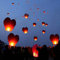 10 Flying heart Chinese paper fire resistant lanterns / wedding lanterns / flying lanterns