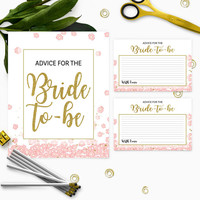 Pink and Gold Advice for the Bride Card and Sign Instant Download-Golden Glitter Floral Bridal Shower Advice Cards-Bridal Party Games
