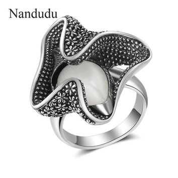 Nandudu Retro Style Opal Stone Ring for Women Girl Cocktail Party Vintage Metal Rock Punk Rings Accessories Gift R2017