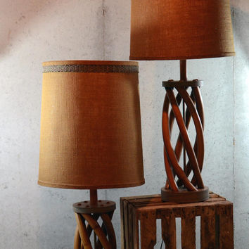 Pair of Amazing Large Vintage Lamps, Helix Wood Base with Original Burlap Shades, Danish Modern, WORKING