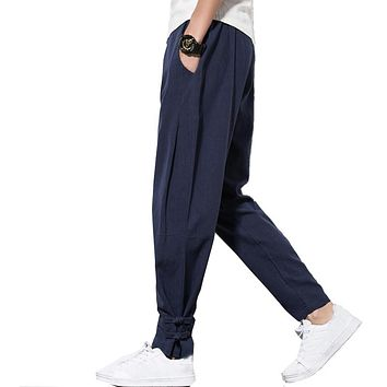 2018 Autumn Harem Pants Men 100% Pure Linen pants Drawstring Flax hemp Trousers Hip hop loose Vintage long pants casual joggers