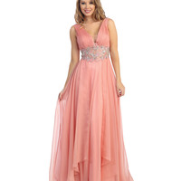 Rose Chiffon Beaded Ruched Long Gown 2015 Prom Dresses