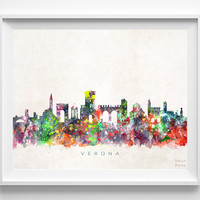 Verona Skyline Print, Italy Print, Verona Poster, Italy Cityscape, City Art, Watercolor Art, Wall Decor, City Skyline, Christmas Gift