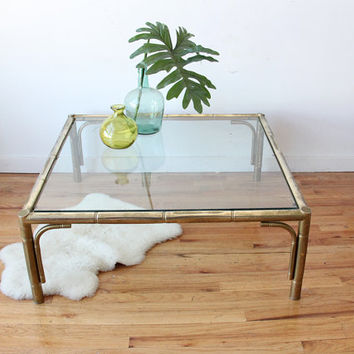 Large Brass Bamboo Coffee Table