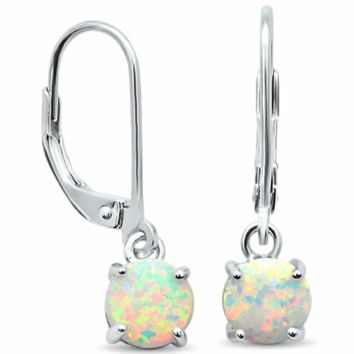 .925 Sterling Silver White Opal Brilliant Round Cut Drop Dangle Stud Ladies Earrings with Lever Back