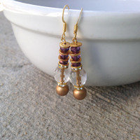 Gold Lined Czech Glass Earrings, Dangle Earrings, Delicate Jewelry, Czech Glass, Gift for Her, Jewelry Gift, Mother's Day, Beaded Jewelry
