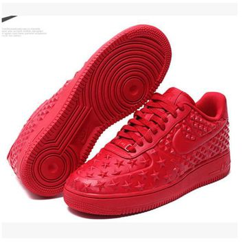 NIKE Women Men Running Sport Casual Shoes Sneakers Air force Low tops Stars print Red