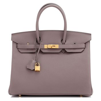 Hermes Etain Grey 35cm Togo Gold Hardware Birkin Bag A Stamp