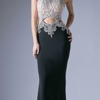 Black Halter Beaded Sexy Prom Gown with Cut-Outs