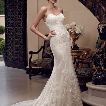Casablanca Bridal 2201 Strapless Beaded Lace Fit & Flare Wedding Dress