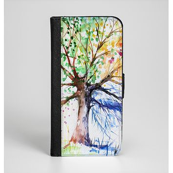 The WaterColor Vivid Tree Ink-Fuzed Leather Folding Wallet Case for the iPhone 6/6s, 6/6s Plus, 5/5s and 5c