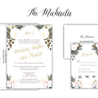 "Floral Watercolor Gold Glitter Wedding Invitation ""The Michaela"" -- (20 Invites, RSVP Cards, Envelopes)"