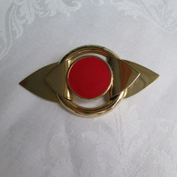Large Art Deco Sash Pin Brooch Reddish - Orange Vintage Jewelry