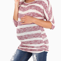 Red Ivory Striped Dolman Sleeve Knit Maternity Top
