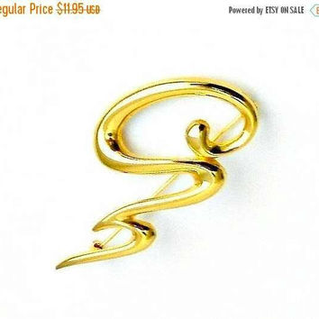 ON SALE Mid Century Modern Brooch, Abstract Gold Tone Brooch, 1970s Jewelry, Vintage Modern Pin.