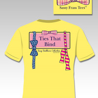 Sassy Frass Tees Ties That Bind Bow Bowtie Tie Comfort Colors Neon Yellow Southern Girlie Bright T Shirt