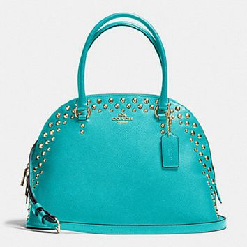New Coach F35216 Studded Crossgrain Cora Dome Satchel Handbag Cadet Blue