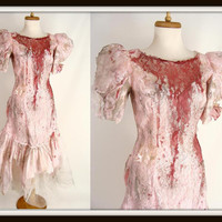 Custom Made Bloody Vintage 80s Pink Puff Sleeve Ruffled Prom Dress Zombie Halloween Costume Size S M 6 7 8