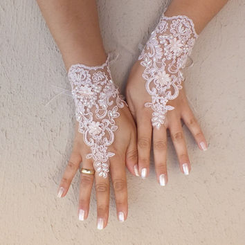 Soft pale pink Wedding gloves lace gloves free ship3D flowers, unique gloves