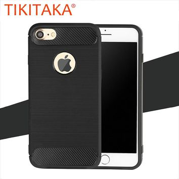 Shockproof Phone Cases For iphone 7 6 6s Plus 5 5s SE Armor Case High Quality Carbon Fiber Soft TPU Silicone Drawing Back Cover