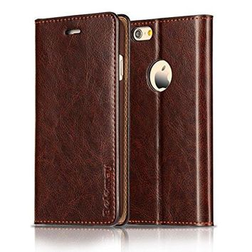 iPhone 6S Plus / 6 Plus Case, Genuine Cowhide Leather Case - Coffee Brown