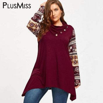 PlusMiss Plus Size Ethnic Boho Print Long Hoodie Sweatshirts Oversized Hooded Women Loose Hoodies Autumn 2018 Big Size Pullover