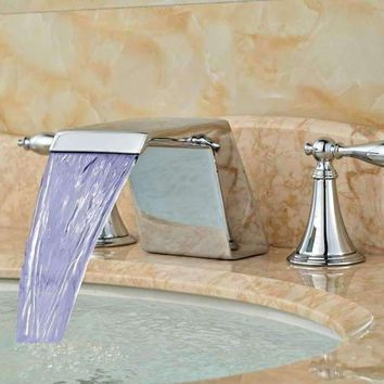 LED Color Changing Square Waterfall Bathroom Faucet Sink Mixer Tap 3 pcs