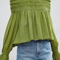 ASOS Off Shoulder Top with Shirring at asos.com