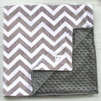 Charcoal Grey & White Double Minky Blanket - Chevron - Newborn - Baby Shower - Birthday - Gift - Gender Neutral - Decor