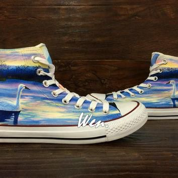 WEN Original Design Swan at Dusk Swan Converse Swan Shoes Hand Painted Shoes,Painted C